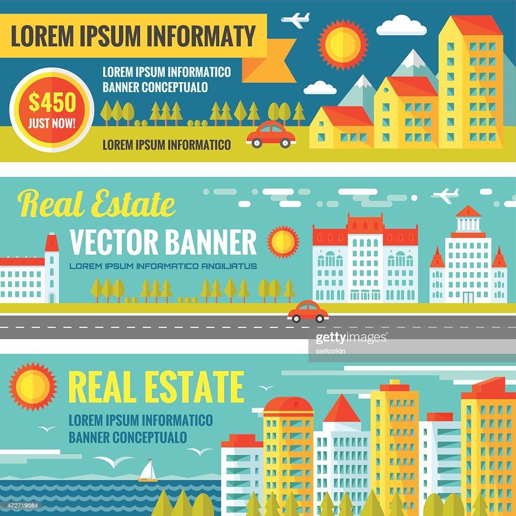 Architecture Real estate - vector banners set in flat style