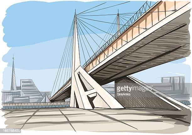 architecture - bridge built structure stock illustrations, clip art, cartoons, & icons