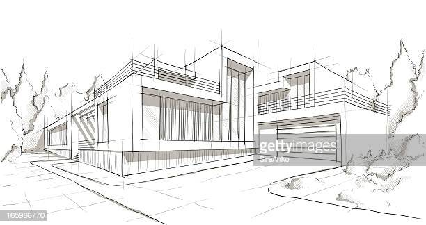 architecture - sketch stock illustrations