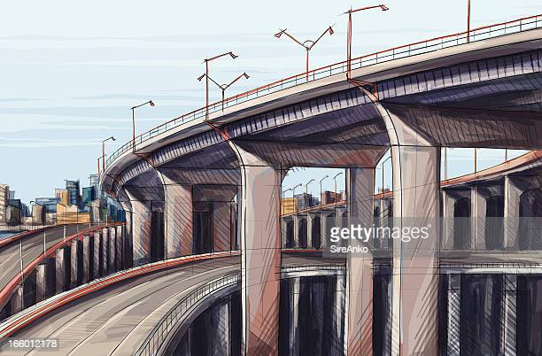architecture - overpass road stock illustrations