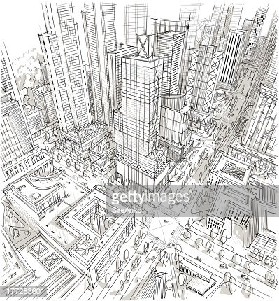 A Sketch Of City From Above Vector Art