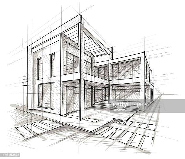 architektur - skizze stock-grafiken, -clipart, -cartoons und -symbole