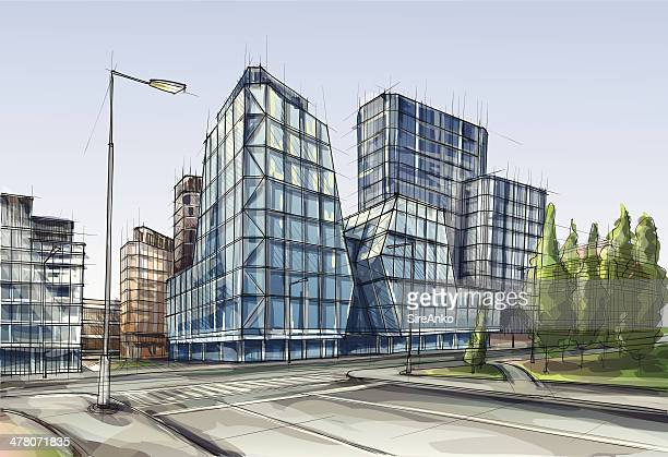 architecture - skyscraper stock illustrations