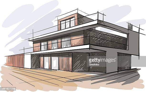 architecture - house exterior stock illustrations, clip art, cartoons, & icons