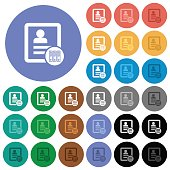 Archive contact round flat multi colored icons
