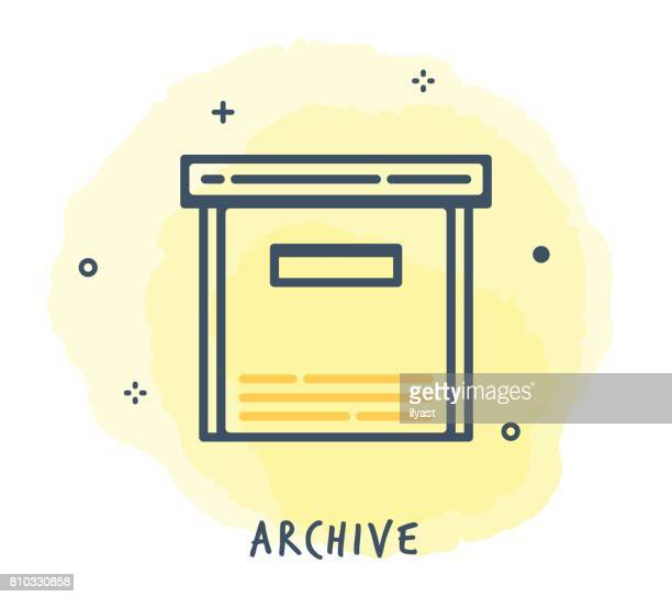 archive line icon - card file stock illustrations, clip art, cartoons, & icons