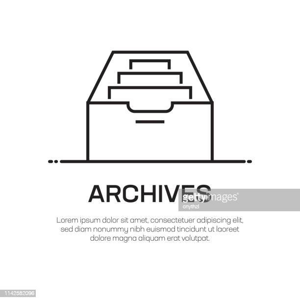 archives vector line icon - simple thin line icon, premium quality design element - archival stock illustrations