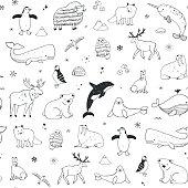 Arctic and antarctic polar doodle cartoon animals seamless pattern