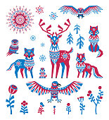 arctic animals set in ethnic style