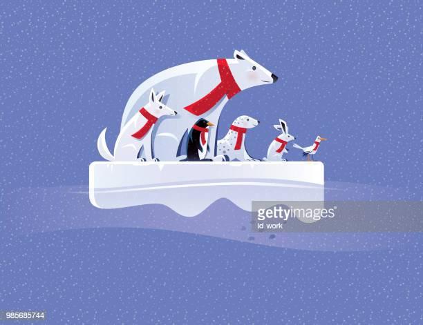 ilustraciones, imágenes clip art, dibujos animados e iconos de stock de animales árticos en témpano de hielo - grupo de animales