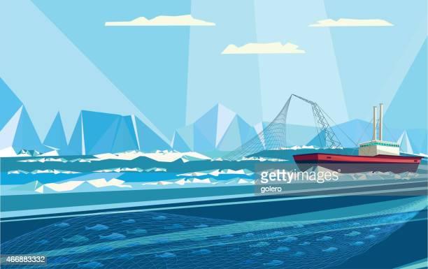 ilustraciones, imágenes clip art, dibujos animados e iconos de stock de arctic de pesca - red de pesca