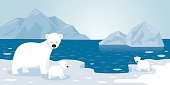 Arctic Polar Bear Iceberg Scene, Mother and baby