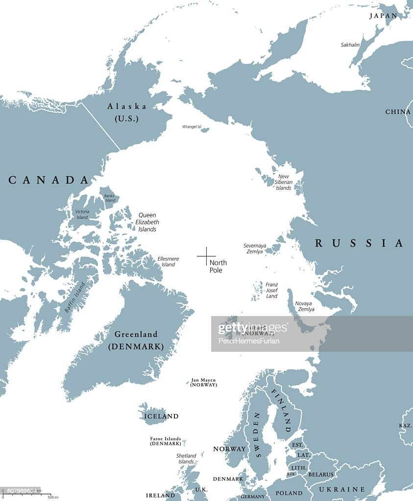 Arctic region countries and North Pole political map