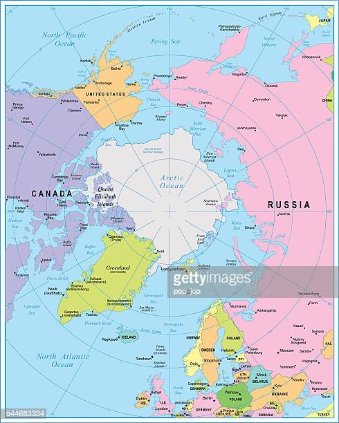 arctic region map - illustration - parallel stock illustrations, clip art, cartoons, & icons