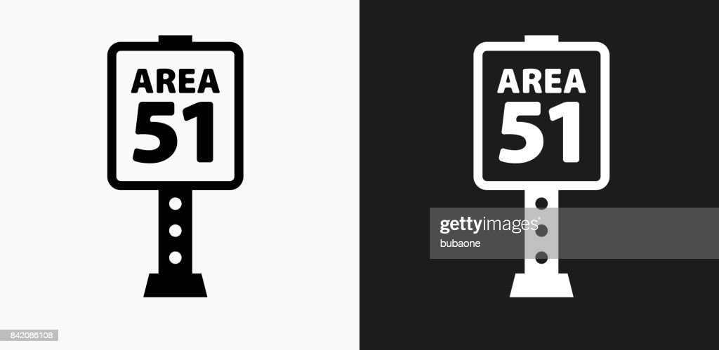 Area 51 Sign Icon on Black and White Vector Backgrounds