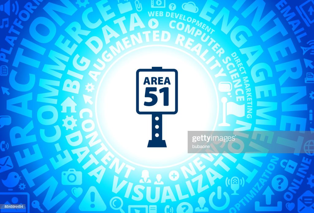 Area 51 Sign Icon on Internet Modern Technology Words Background
