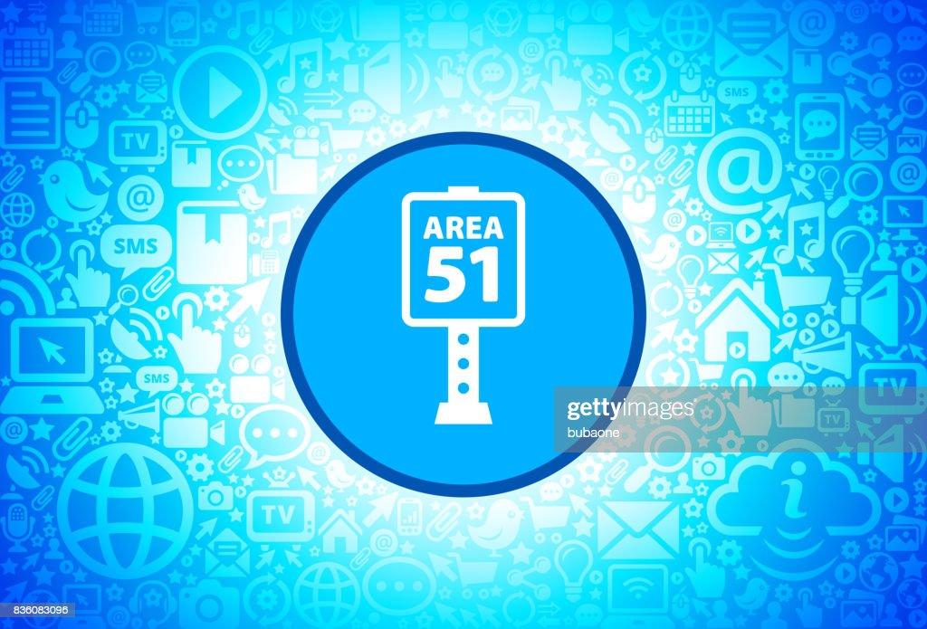 Area 51 Sign Icon on Internet Technology Background