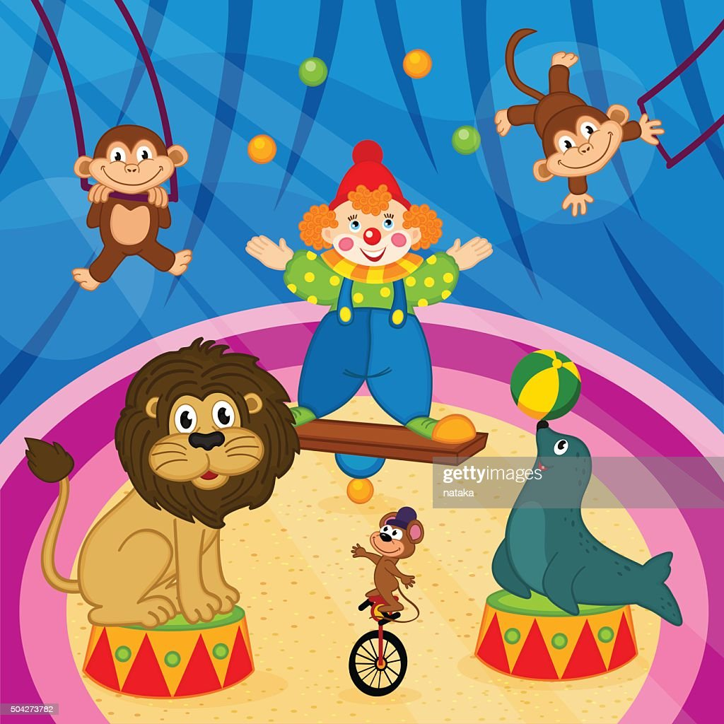 arena in circus with animals and clown