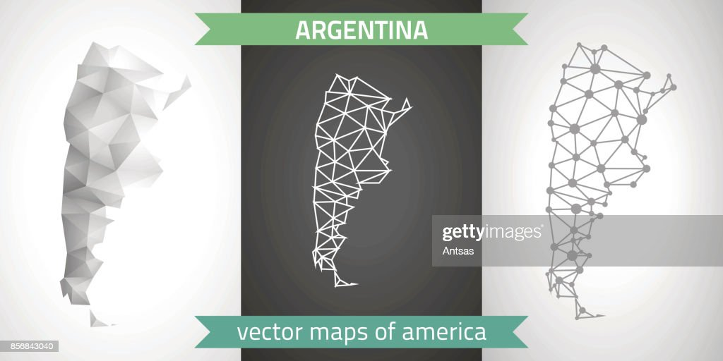 Argentina collection of vector design modern maps, grey and black and silver dot outline mosaic 3d map