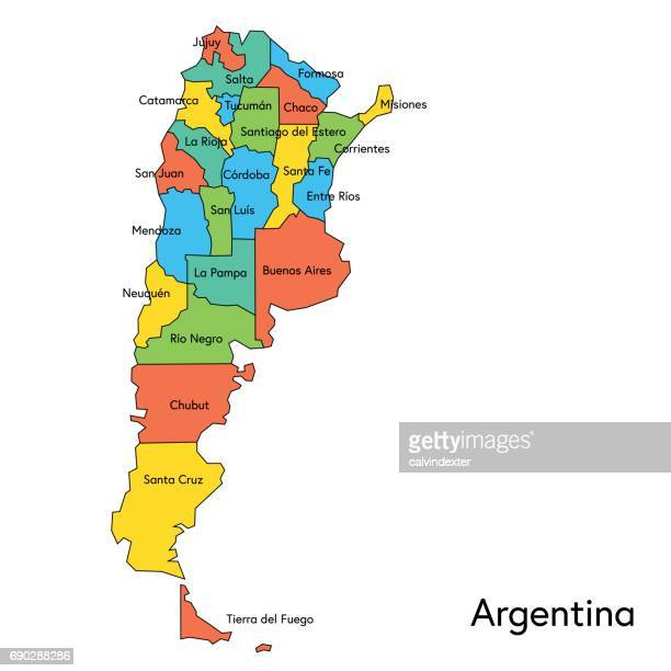 Argentina color map with regions and names