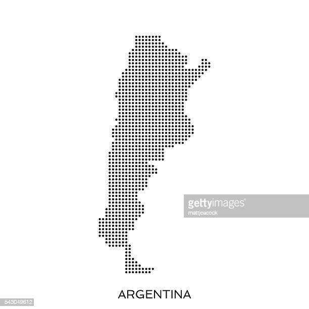 Gepunktete Halbtonmuster Karte Argentinien