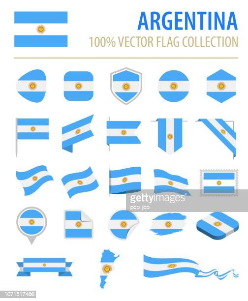 argentina - flag icon flat vector set - argentina stock illustrations