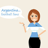 Argentina football fans.Cheerful soccer fans, sports images.Young woman,Pretty girl sign.Happy fans are cheering for their team.Vector illustration