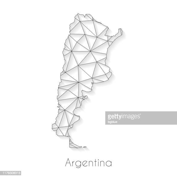 argentina map connection - network mesh on white background - argentina stock illustrations