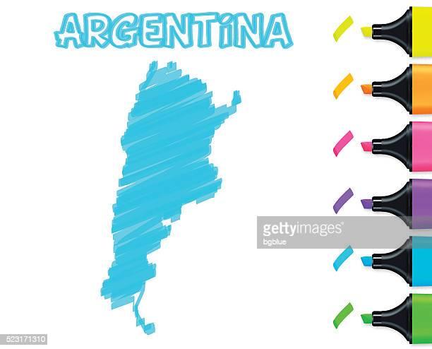Mapa de Argentina desenhado à mão num fundo branco, azul marcador