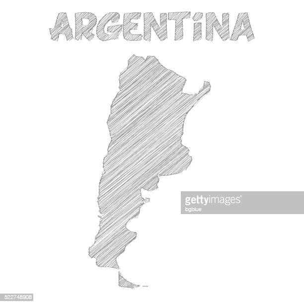 argentina map hand drawn on white background - argentina stock illustrations