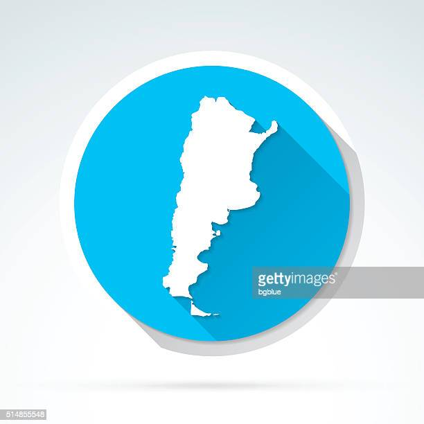 Argentina map icon, Flat Design, Long Shadow