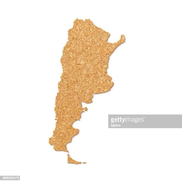 Argentinien Karte in Cork Tisch-Struktur auf weißem Hintergrund