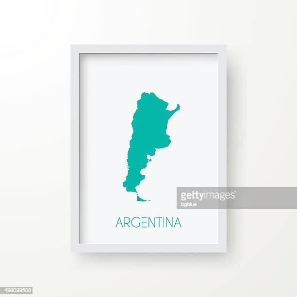 Argentina mapa na moldura no fundo branco