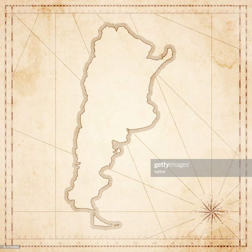 Argentina map in retro vintage style - old textured paper : Stock Illustration