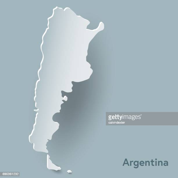 Argentina map in white and shadow