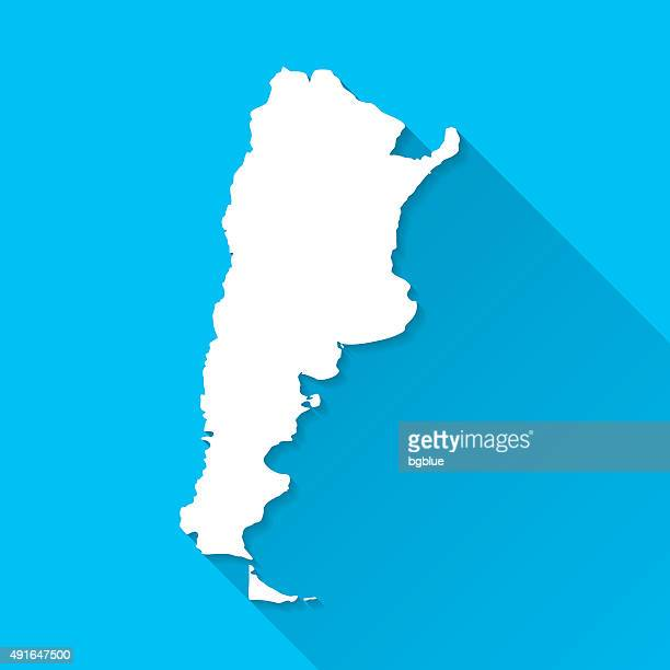 Argentina Map on Blue Background, Long Shadow, Flat Design