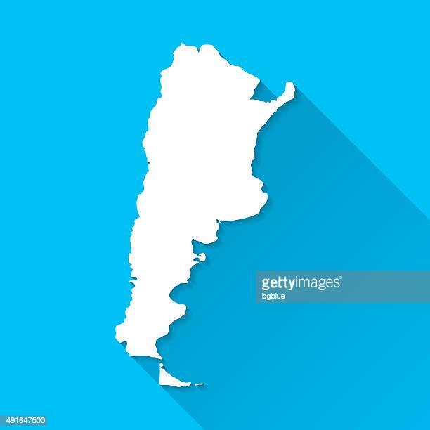 Argentina mapa sobre fundo azul, longa sombra, plana Design