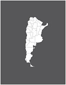 Argentina map outline vector in gray background