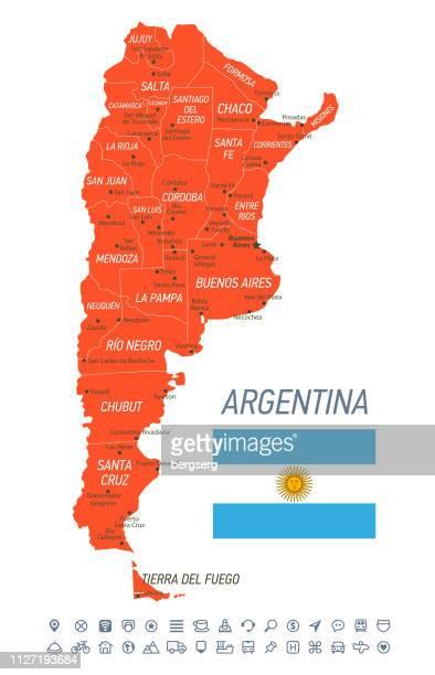 ilustraciones, imágenes clip art, dibujos animados e iconos de stock de mapa de la argentina. mapa del vector con las provincias y los iconos de navegación - bandera argentina