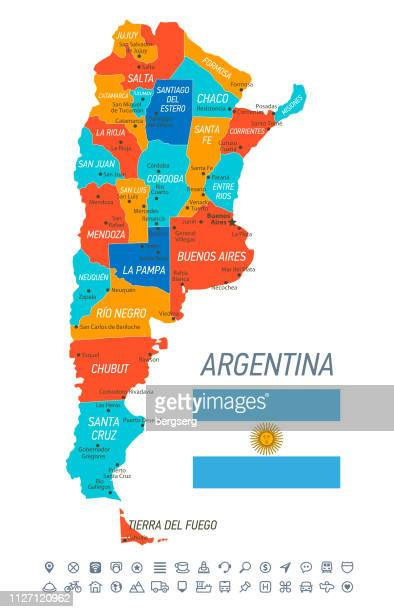 argentina map. vector map with provinces, icons and navigation icons - la plata argentina stock illustrations