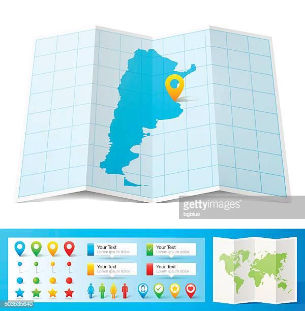 Argentinien Karte mit Lage pins, isoliert auf weißem Hintergrund