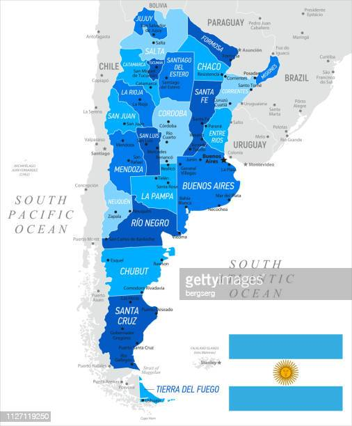 argentina map with national flag and provinces. vector illustration - la plata argentina stock illustrations