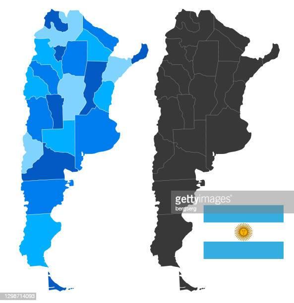 illustrations, cliparts, dessins animés et icônes de carte de l'argentine avec le drapeau national. illustration bleue élevée de vecteur - argentine