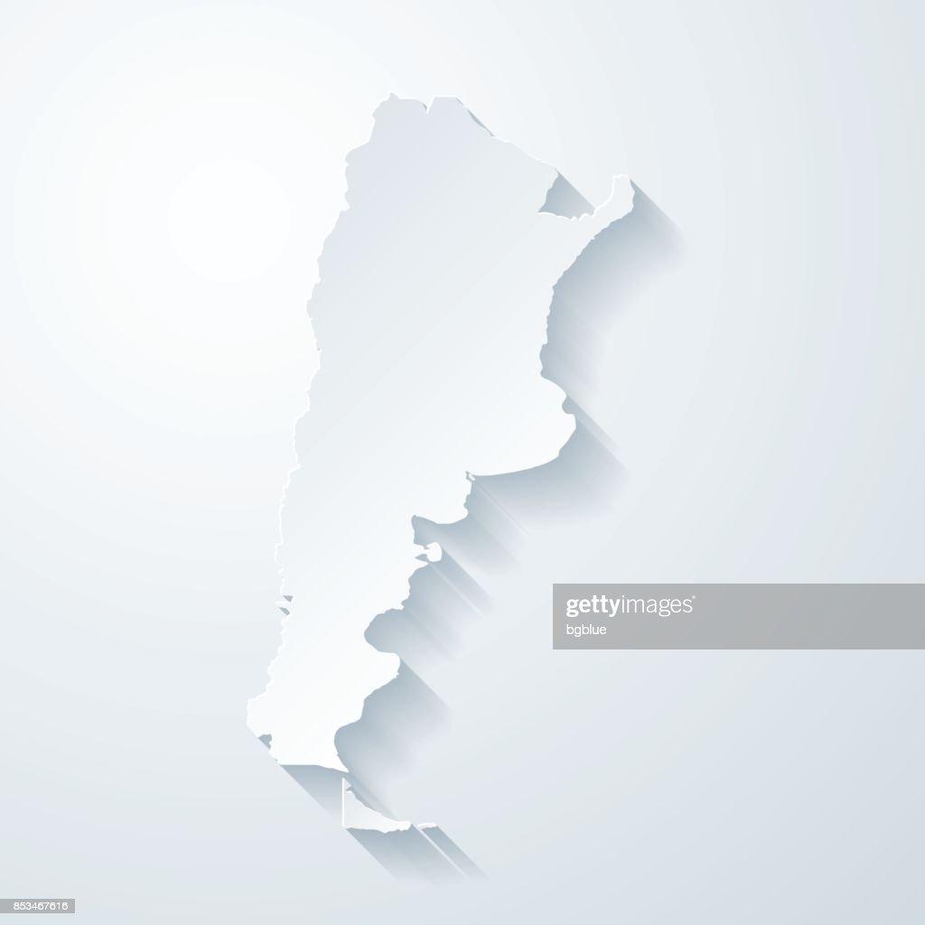 Argentina map with paper cut effect on blank background : Ilustração de stock