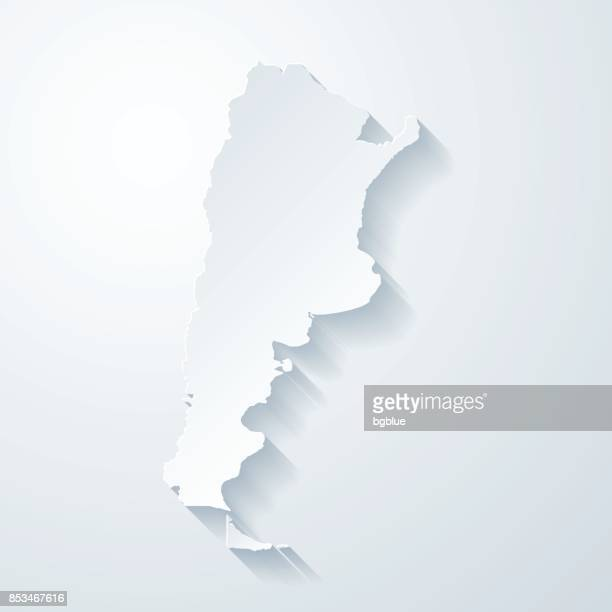 Argentina map with paper cut effect on blank background