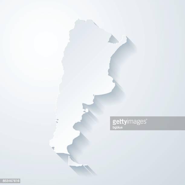 Argentinien Karte mit Papier geschnitten Wirkung auf leeren Hintergrund
