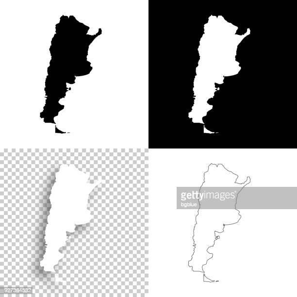Argentinien-Karten für Design - leere, weiße und schwarze Hintergründe