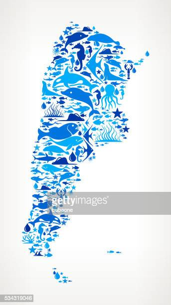 argentina Ocean Marine Life Blue Icon Pattern