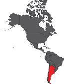Argentina red map on gray America map vector