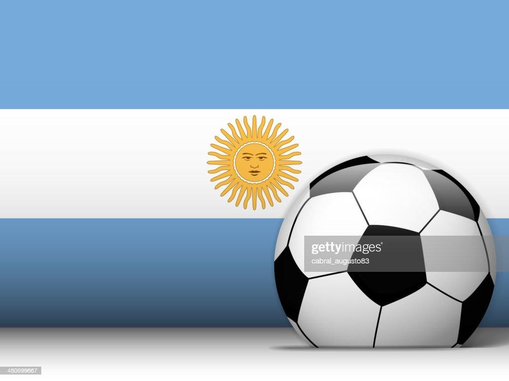 Argentinien Fussball Ball Mit Flagge Hintergrund Stock